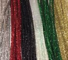 10 x 1000 GLITTER/TINSEL chenille craft stems pipe cleaners 30cm  long, 6mm wide