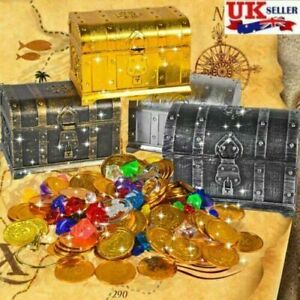 2-Pirate treasure chest real gems fool gold kids toy set birthday gift 2021+