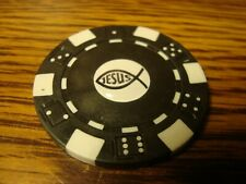 JESUS ICHTHUS Fish image Poker Chip Golf Ball Marker Card Guard / Black-White  b
