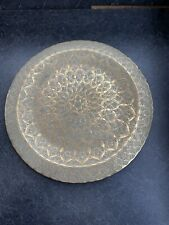 vintage Brass Etched tray display, serving, kitchenalia Patterned Moroccan