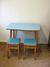 Rare Large Size Formica Drop-Leaf Table with 2 Original Stools. 1960s Vintage.