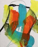 ABSTRACT PAINTING 36 EXPRESSIONIST LEFT HAND AUTOMATIC SIGNED NIGEL WATERS *