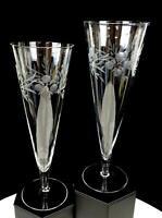 """ELEGANT GLASS FLORAL ETCHED 2 PIECE 8 3/4"""" PILSNER BEER CHAMPAGNE GLASSES 1950'S"""