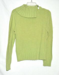 Vintage Caslon Lime Green Wide Pleated Collar Womens Sweater Size M Hong Kong