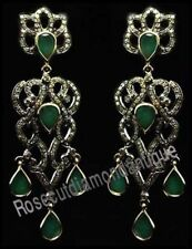 Silver 925 Emerald Party Style Earrings Latest Victorian 4.70ct Rose Cut Diamond