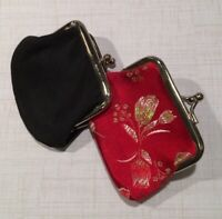 """2 VNTG Kiss Lock Coin Purses 3""""x3"""" 1~Custom Black & 1~Red Embroidered"""