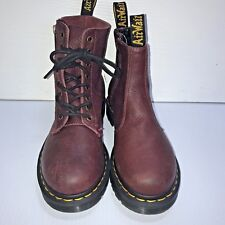 NEW DR. DOC MARTENS size 6 burgundy red leather biker ankle boots shoes mismatch