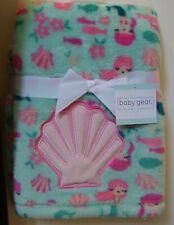 Girls Baby Gear Soft Green Pink Peach Shell Mermaid Baby Blanket Nwt