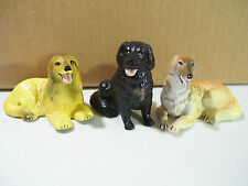LOT OF 3 VINTAGE NEW-RAY VINYL DOG FIGURES BORZOI NEW FOUNDLAND AFGHAN HOUND