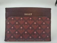 New Bally Womens Rigi Merlot Burgundy Card Holder Wallet Made In Italy