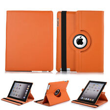 360 Rotating Leather Stand Protector Soft Full Case Cover For iPad 2 3 4 Orange