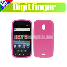 CUSTODIA Cover CASE in SILICONE ROSA per SAMSUNG GALAXY Nexus Prime I9250 Nuova