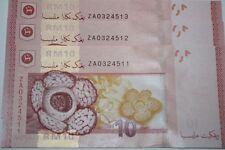 (PL) RM 10 ZA 0324511-13 UNC 3 PCS MALAYSIA 2012 ZETI REPLACEMENT NOTE