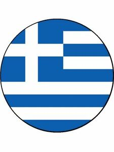 7.5 INCH GREEK / GREECE NATIONAL FLAG CAKE TOPPERS DECORATIONS ON RICE PAPER