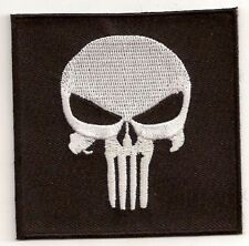 PUNISHER SKULL  VETERAN MILITARY EMBROIDERED IRON ON BIKER PATCH