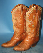 MENS VTG DAN POST TAN LEATHER/SUEDE UNDERSLUNG COWBOY/WESTERN BOOTS sz 7.5 C