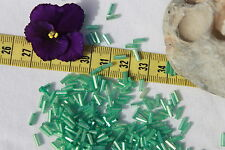 6mm Vintage Venetian Italy Bugle Bead Silver Lined Sea Green Sq Hole Bead /1oz