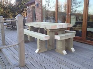 RUSTIC Solid Wooden Sleeper Outside Or Inside Table And 4 Benches