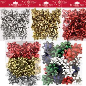 16PK Christmas Present Gift Bows Luxury Metallic Self Adhesive Wrapping Xmas Bow