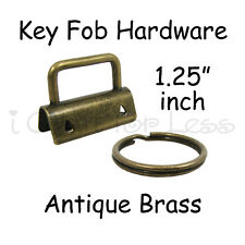 "50 Key Fob Hardware w/ Key Rings Sets - 1.25"" (32 mm) Antique Brass + Instruc."