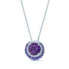 Amethyst Diamond Purple Crescent Pendant 14K White Gold Necklace Womens Halo