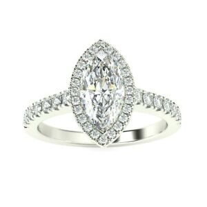 Special Offer - 1.25Ct Marquise Diamond Halo Engagement Ring, Heavy White Gold