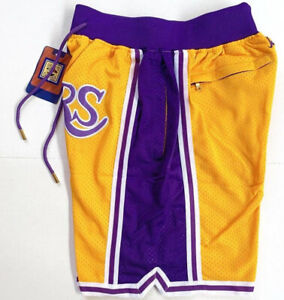 New Men Yellow Lakers Shorts  All Stitched S-XXL