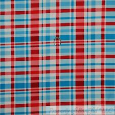 BonEful Fabric Cotton Quilt VTG White Red Blue Plaid USA Baby Check Stripe SCRAP