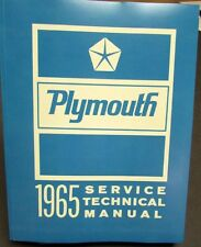 1965 Plymouth Shop Service Manual Valiant Barracuda Belvedere Satellite Fury