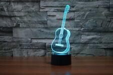 Glow LED Night Light 3D Illusion Guitar Studio Decor 7 Colors Touch Sensor Lamp