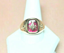 Gold Mason Ring SOLID GOLD with Masonic emblem red lodge  ~SIGNED ~ Make offer !
