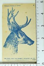 1881 French Puzzle Stag & The Rabbit, Where Is It Victorian Trade Card F69