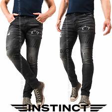 Jeans Uomo Slim Fit Elasticizzato Aderente Strappati Pantaloni 42 44 46 48 50