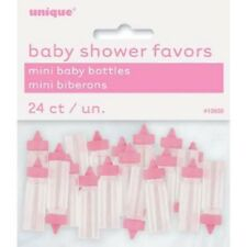 """24 x 1"""" Pink Plastic Mini Bottles Baby Shower Favours Gender Reveal Party Girls"""