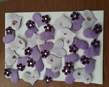 10 PurpleFurry Felt Heart padded embellishments Fabric Flatback Flower Gem Stone