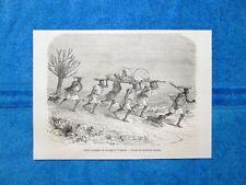 Gravure Année 1864 - Grant voyageant du Karagué à l'Ouganda - Grant in viaggio
