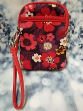 Womens Mini Wallet Wristlet Red Floral By Seven - B36