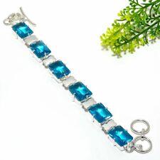 "Faceted Blue Topaz Gemstone Handmade Ethnic Jewelry Bracelet 7-8"" B-6288"