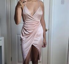 Oh Polly Blush Rosa Sedoso Sexy Vestido Envolvente tamaño 8