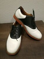 SCHOOL ISSUE Women's 7300 Saddle Oxfords Shoes White Black Leather 9M