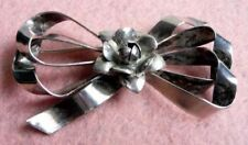 VINTAGE STERLING BEAUTIFUL BOW W/ROSE IN CENTER-PIN/BROOCH-STAMPED -20gr-#S-3