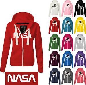 Women Ladies NASA Zipped hoodie Sweatshirt Top Jumper Jacket Hoody