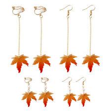 Women Long Fall Autumn Tree Maple Leaf Clip Up Hook Dangle Earrings Jewelry Gift