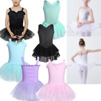 Girls Kid Ballet Dance Ballerina Tutu Skirt Dress Gymnastics Skate Leotard Dress