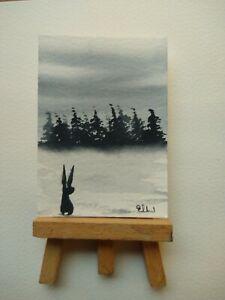ELW Original, Aceo Cards.  Winter hare.