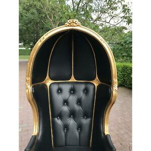 French Black Leather Balloon Chair- New