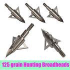12X 125 Grain Arrowhead Broadheads 3 Blade Archery Arrow Tips Points Bow Hunting