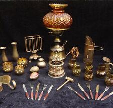 34 Vtg Brass Table Lamp Light Birdcage Flatware Candle Holders Tankard Mugs Eggs