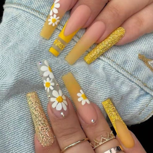 Yellow gradient wrinkle diamond wearable fake nails stickers finishedremovable n