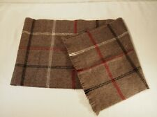 Acrylic Scarf Gray Plaid Simple Design with Fringe Japan